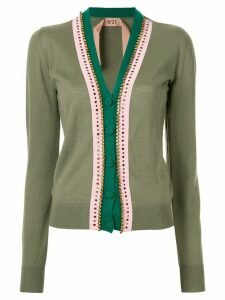 Nº21 embellished trim V-neck cardigan - Green