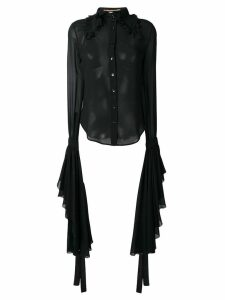 Saint Laurent sheer shirt with dramatic sleeves - Black
