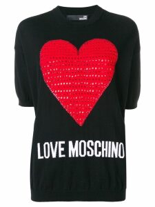 Love Moschino love heart embellished sweater - C74 BLACK, RED