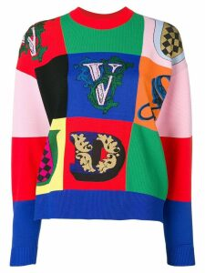 Versace logo patchwork jumper - Red