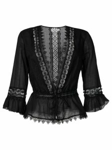 Charo Ruiz embroidered waist-tied blouse - Black