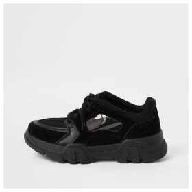 River Island Womens Black chunky lace-up trainers