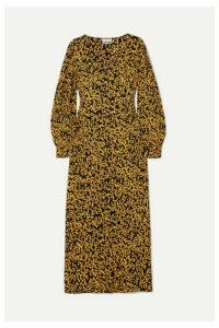 GANNI - Floral-print Crepe De Chine Midi Dress - Black