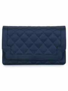 Chanel Pre-Owned 1989-1991 quilted clutch hand bag - Blue