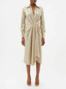 Alessandra Rich - High Rise Striped Tweed Mini Skirt - Womens - White Gold