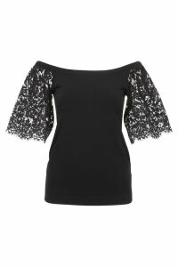Valentino Knit Top With Lace Sleeves