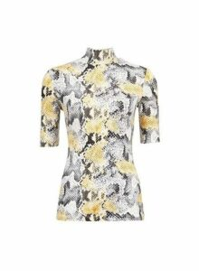 Womens Multi Colour Short Sleeve Snake Print High Neck Top, Multi