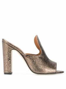 Paris Texas block heel mules - Gold
