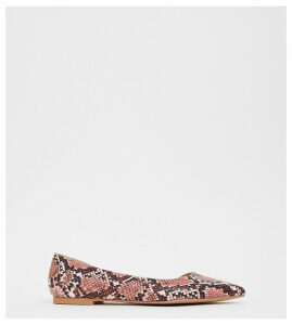 ASOS DESIGN Wide Fit Virtue d'orsay pointed ballet flats in pink snake-Red