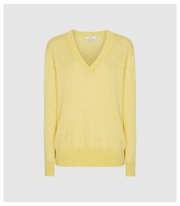 Reiss Vita - Wool Linen Blend V-neck Jumper in Yellow, Womens, Size XXL