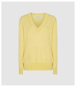Reiss Vita - Wool Linen Blend V-neck Jumper in Yellow, Womens, Size XXL