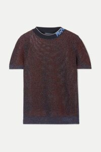 Prada - Intarsia-trimmed Metallic Knitted Top - Blue