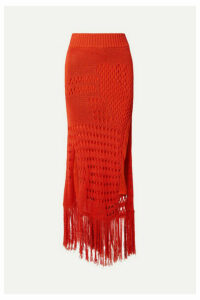 Altuzarra - Benedetta Fringed Open-knit Cotton-blend Maxi Skirt - Orange
