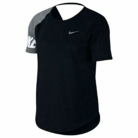 Nike  CAMISETA W NK MILER TOP SS SD  women's T shirt in Black