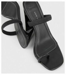 Black Strap Square Toe Slim Block Heels New Look