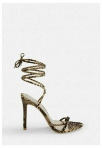Brown Snake Faux Suede Lace Up Heels, Brown