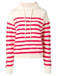 Barrie stripe hooded sweater - White