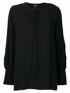 Theory keyhole long-sleeve blouse - Black