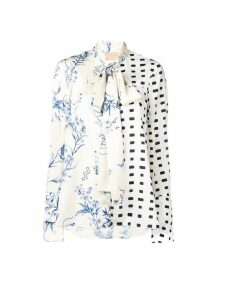 Ssheena loose-fit print mix blouse - Neutrals