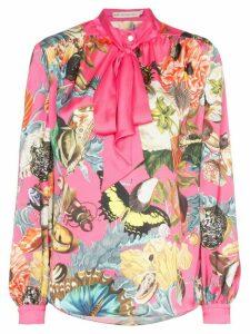 Mary Katrantzou Federika butterfly print tie-neck blouse - PINK