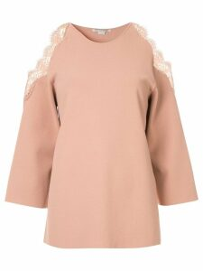 Stella McCartney cold-shoulder knitted top - PINK