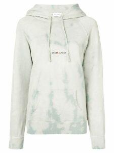 Saint Laurent logo print hoodie - Blue