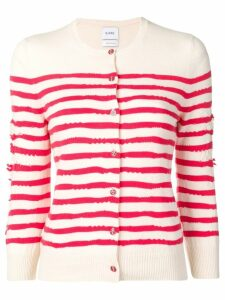 Barrie cashmere striped cardigan - White