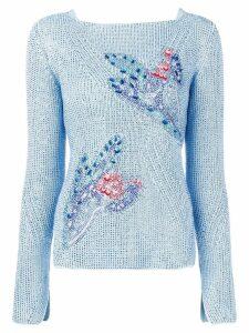 Ermanno Scervino rhinestone-embellished jumper - Blue