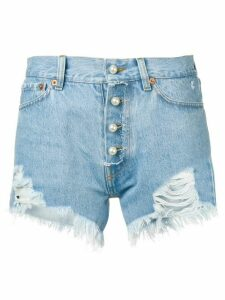 Forte Dei Marmi Couture pearl-embellished distressed shorts - Blue