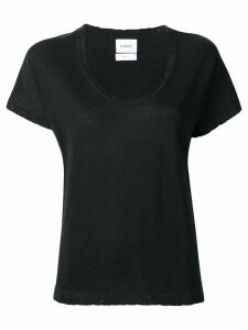 Barrie cashmere distressed trim top - Black