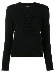 Barrie cashmere embroidered logo sweater - Black
