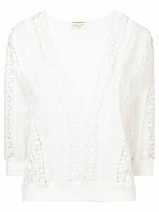 Saint Laurent lace panel blouse - White
