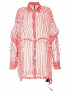 Unravel Project stripe drawstring over shirt - PINK