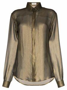 Saint Laurent diaphanous long-sleeved silk shirt - Gold
