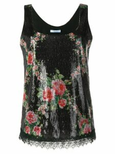 Blumarine floral sequin embellished top - Black