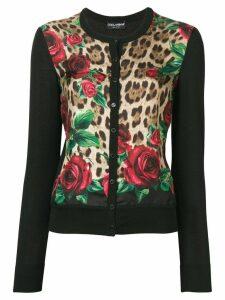 Dolce & Gabbana rose leopard print cardigan - Neutrals