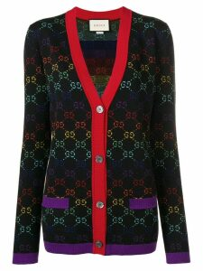 Gucci knit logo print V-neck cardigan - Black