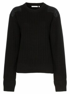 Helmut Lang ribbed elbow patch cotton jumper - Black