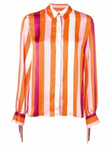 MSGM fringed striped shirt - Orange