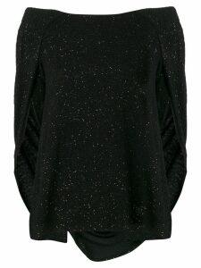 Talbot Runhof cape style glitter top - Black