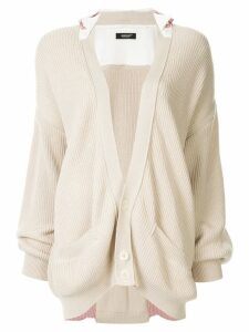 Undercover cotton layered cardigan - NEUTRALS