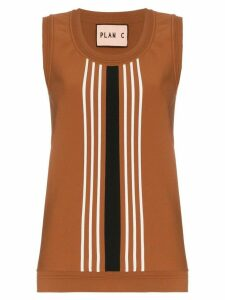 Plan C Striped Knitted Vest - Brown