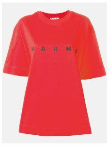 Marni oversized logo print T-shirt - Red