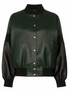 Plan C contrast sleeve button down leather bomber jacket - Green