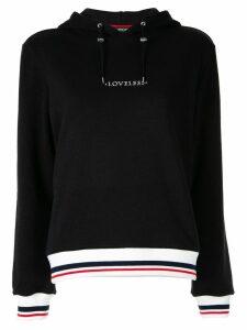Loveless logo drawstring hoodie - Black