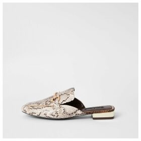 River Island Womens Beige snake print snaffle backless loafers