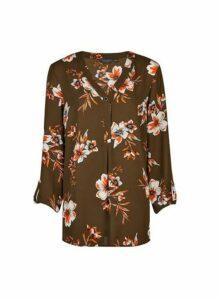 Womens **Tall Khaki Floral Print Shirt, Khaki
