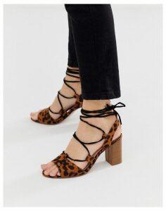 Miss KG leopard tie leg gladiator block heeled sandal