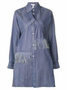 Loewe fringed striped shirt dress - Blue