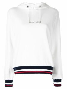 Loveless logo striped hoodie - White